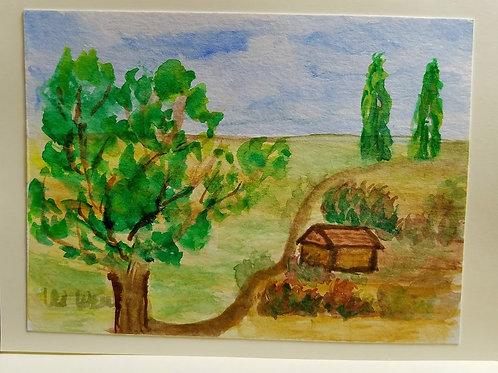Provence Countryside Original Watercolor Greeting Card