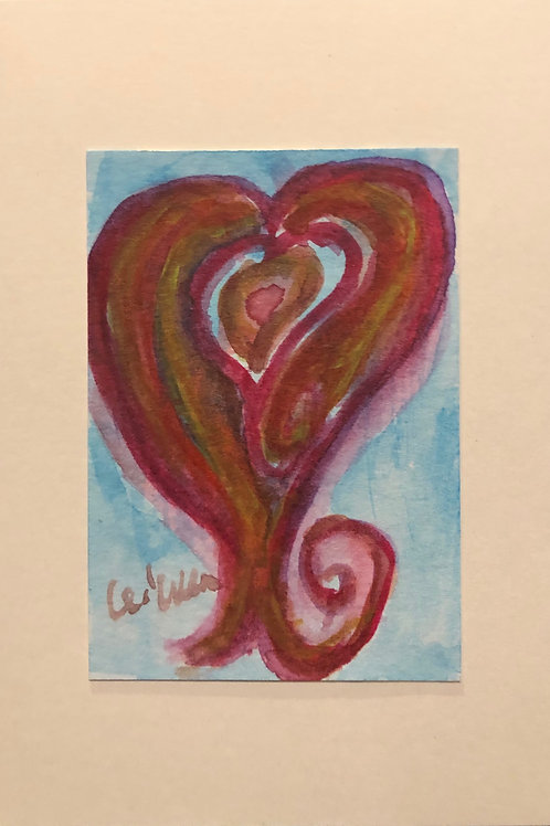 Lonely Heart  Original Watercolor Greeting Card