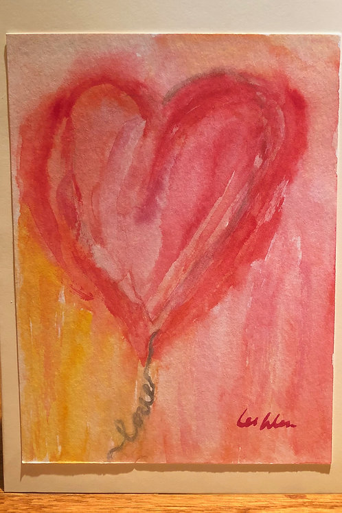 heart, blank thank you cards, unique cards, handmade card, watercolor cards, red, one of a kind card, cards, gift for mom
