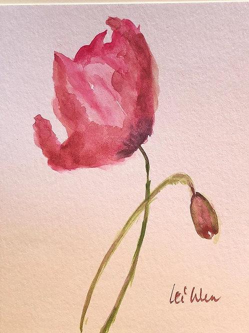 Spring around corner  Original Watercolor Greeting Card