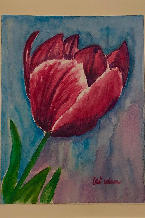 My Tulip  Original Watercolor Greeting Card