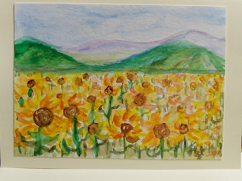 Provence Sunflower Fields  Original Watercolor Greeting Card