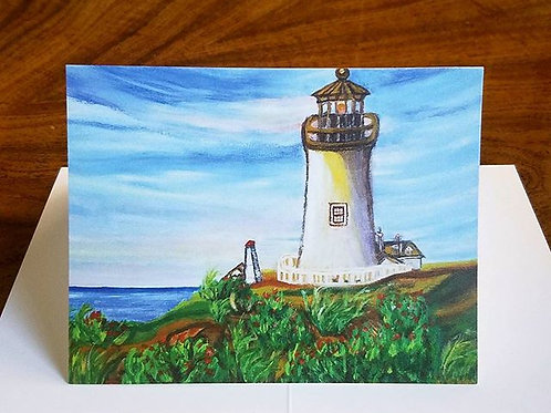 "Art print, note Card, Reproduction of Original Painting, Folded Card, 4""x5.5"", with Envelope, light house, House warming"