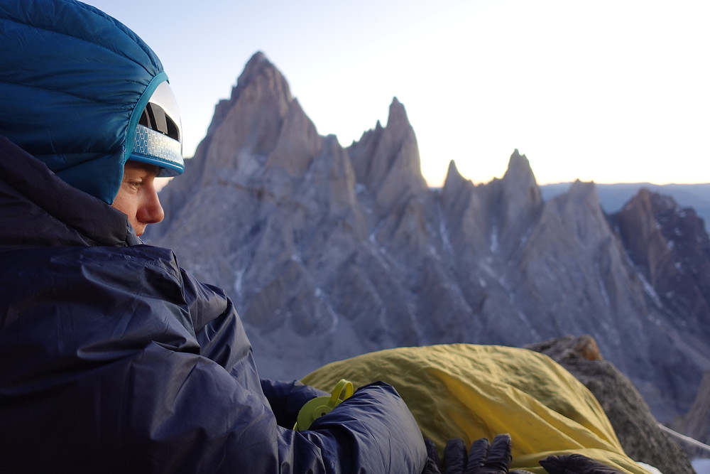 Brette Harrington watches the evening sun set behind Fitz Roy and Poincenot. Photo: Quentin Roberts