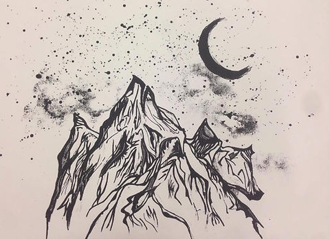 screen print mountains art Michele Pratt
