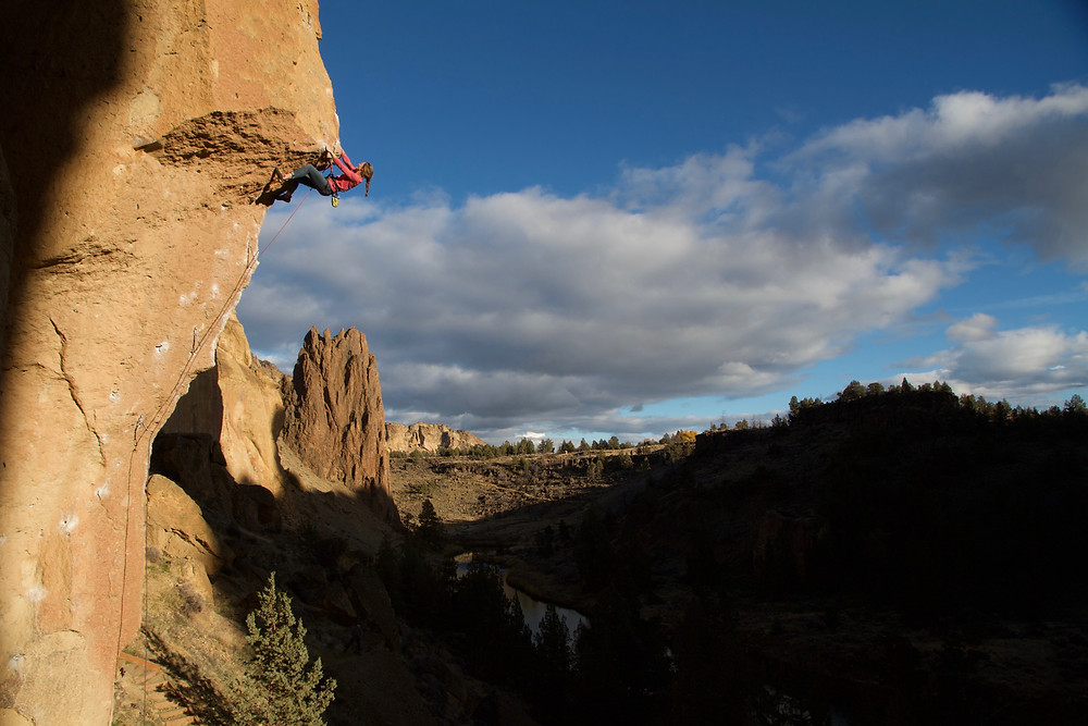 Michele on Chain Reaction 12c at Smith Rocks