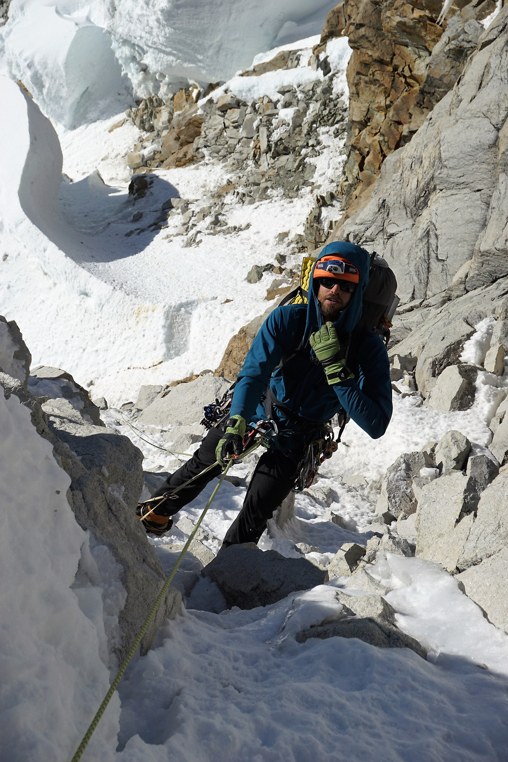 Alik at the top of the first pitch of the headwall