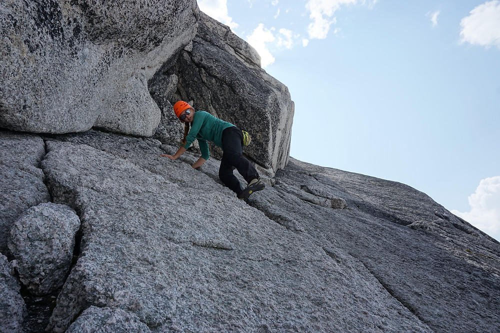 Michele on the East Ridge of Pigeon Spire, Bugaboos, BC