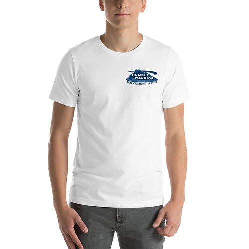 Short-Sleeve Unisex T-Shirt - Top Corner Logo - White & Blues