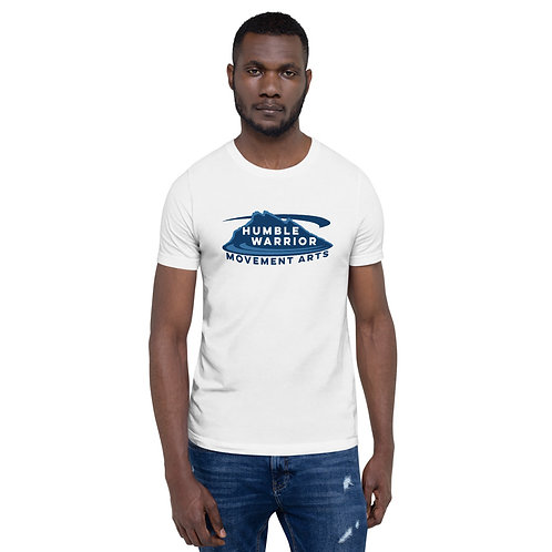 Short-Sleeve Unisex T-Shirt - Front Logo - White & Blues