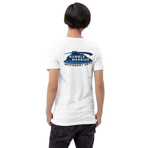 Short-Sleeve Unisex T-Shirt - Back Logo - White & Blues