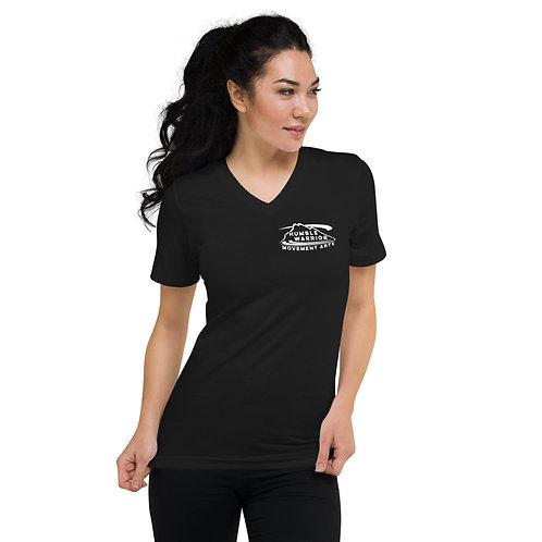 Unisex Short Sleeve V-Neck T-Shirt Black Front Pocket