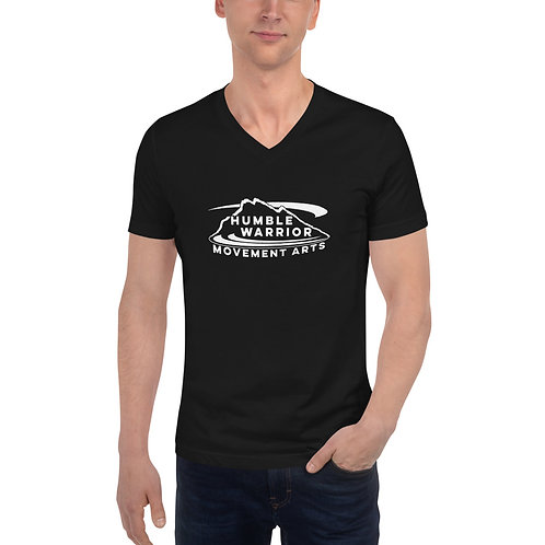 Unisex Short Sleeve V-Neck T-Shirt - Front Logo - Black