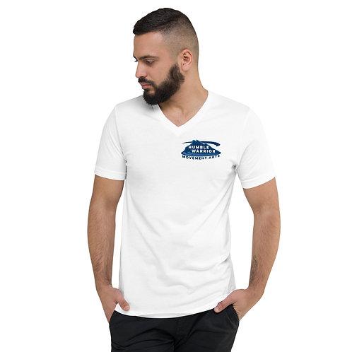Unisex Short Sleeve V-Neck T-Shirt - Top Corner Logo - White