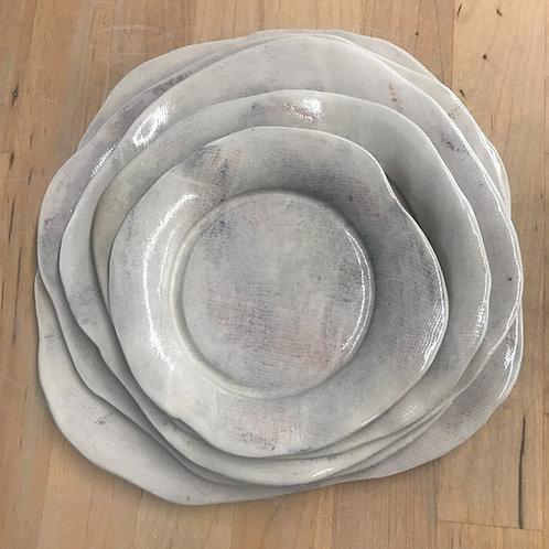 handmade clouded gauze nesting plates - set of 5
