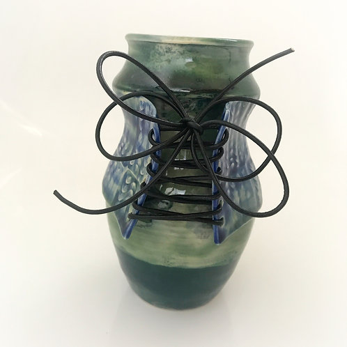 Green Sassy Lady Bottle with Blue bodice and Black leather Laces