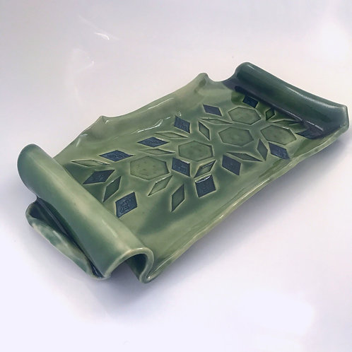 Green Ceramic Serving Plate - Scroll Tray