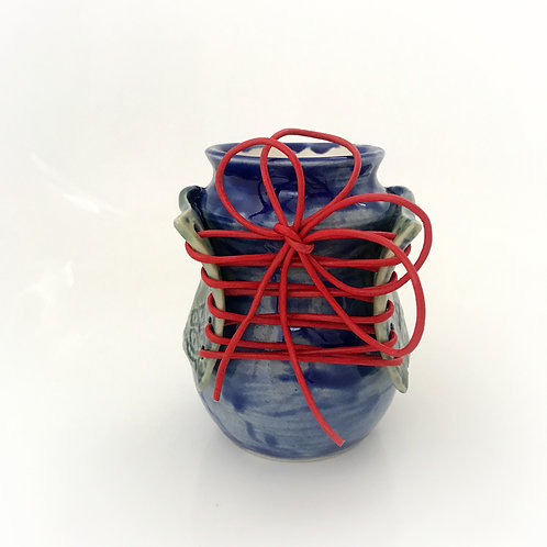 Blue Sassy Lady Bottle with Red Laces