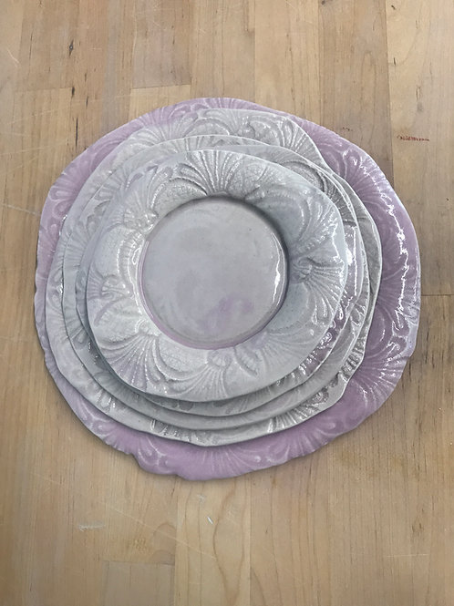 handmade pink laced nesting plates - set of 5
