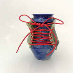 Sassy Lady Bottle in shiny blue and green with red laces