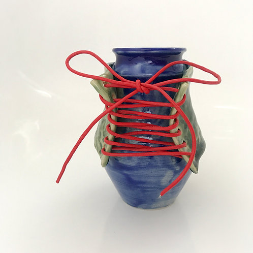Blue Sassy Lady Bottle with Red Leather Laces
