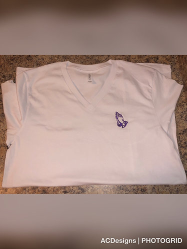 Embroidered Praying Hands V-Neck (Husky)