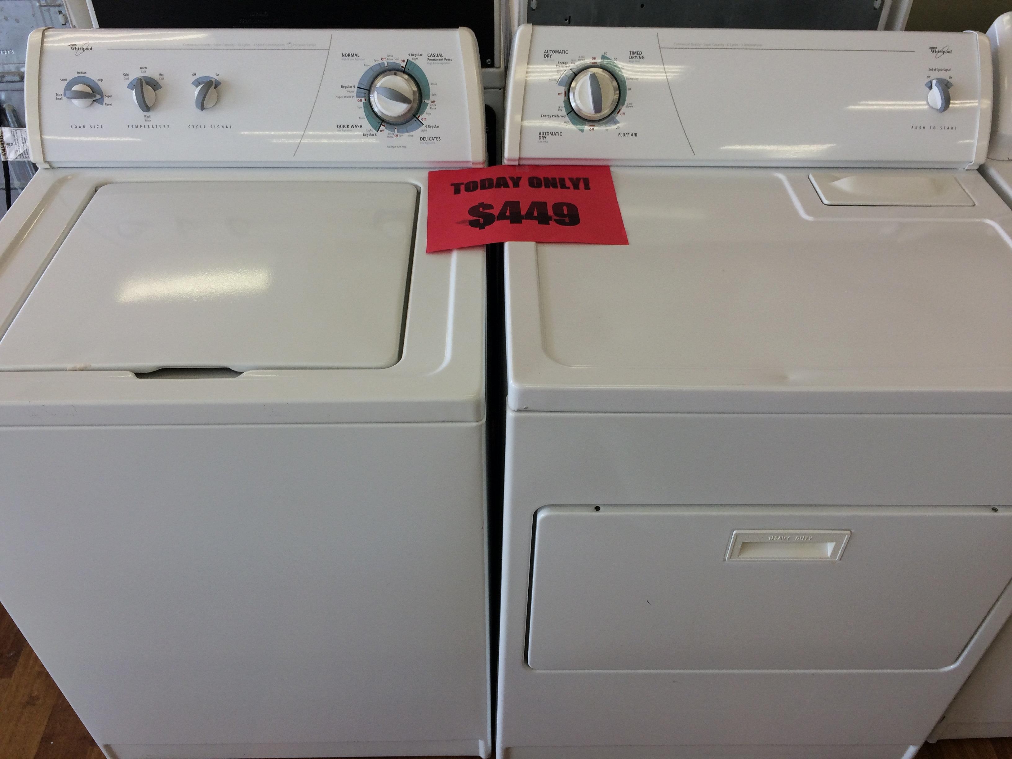 whirlpool top load washerdryer