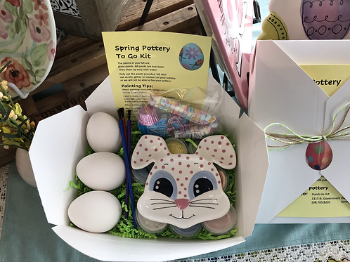 Spring To Go Kit- Bunny Dish & three eggs (Paint & supplies included)
