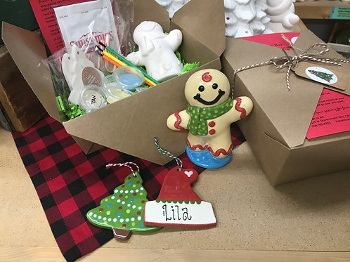 Gingerbread Christmas to-go Box (all glaze paints & supplies included)