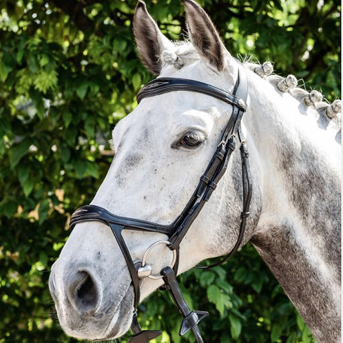 E143 Prestige bridle with drop noseband and rubber reins