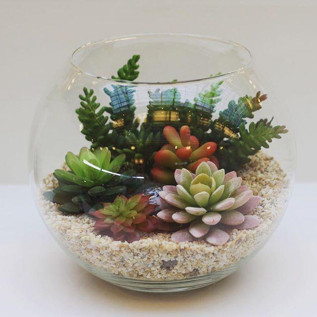 #флорариум, искусственные #суккуленты, диаметр 25 см