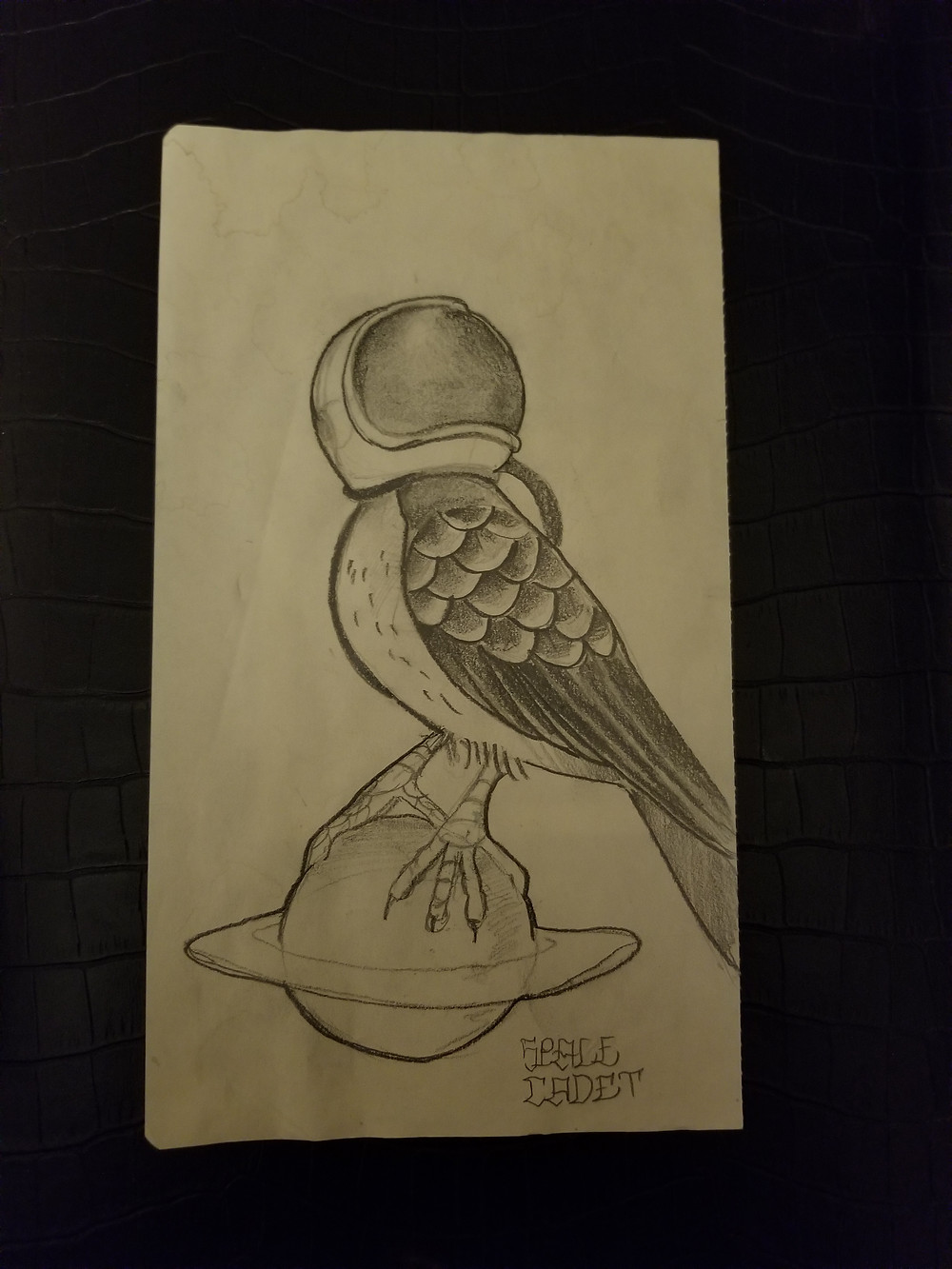 bird, saturn, astronaut, space bird, bird in space, sketch, george, ndgns studio, art
