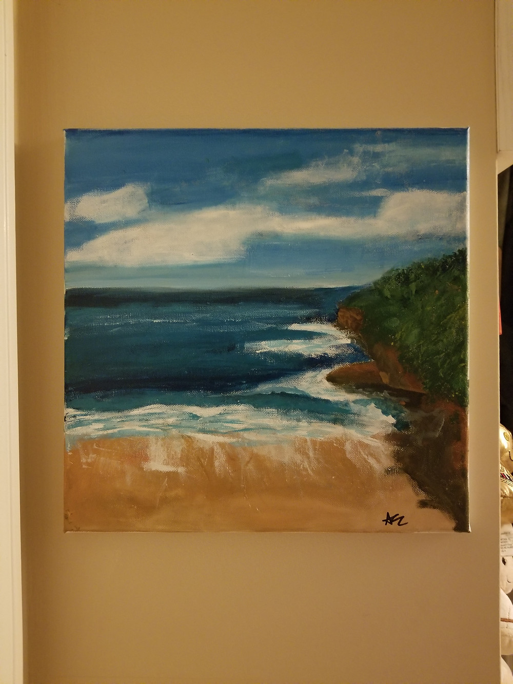 painting, bali shore, bali painting, beach painting, canvas art, canvas, acrylic paint, fingerpainting