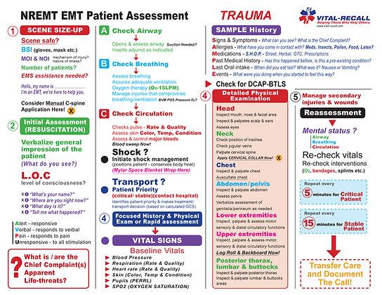 EMT Trauma & Medical Training Sheets 50 pack