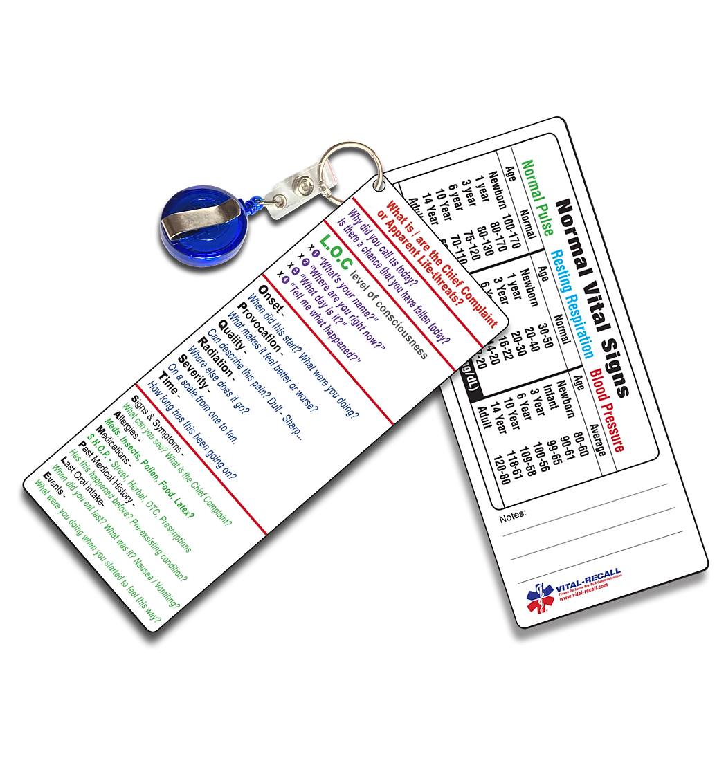EMS Pocket PCRs & On Scene Vital-Info