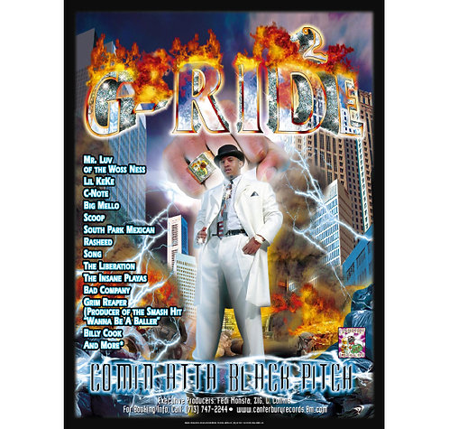 "G-Ride., Comin' Atta Black Pitch, 18"" x 24"" Poster"