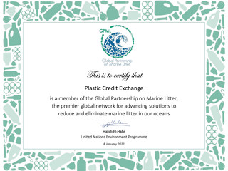 UNEP welcomes Plastic Credit Exchange to the Global Partnership on Marine Litter