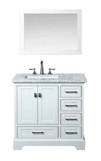 "Newport White 36"" Single Sink Vanity with Mirror"
