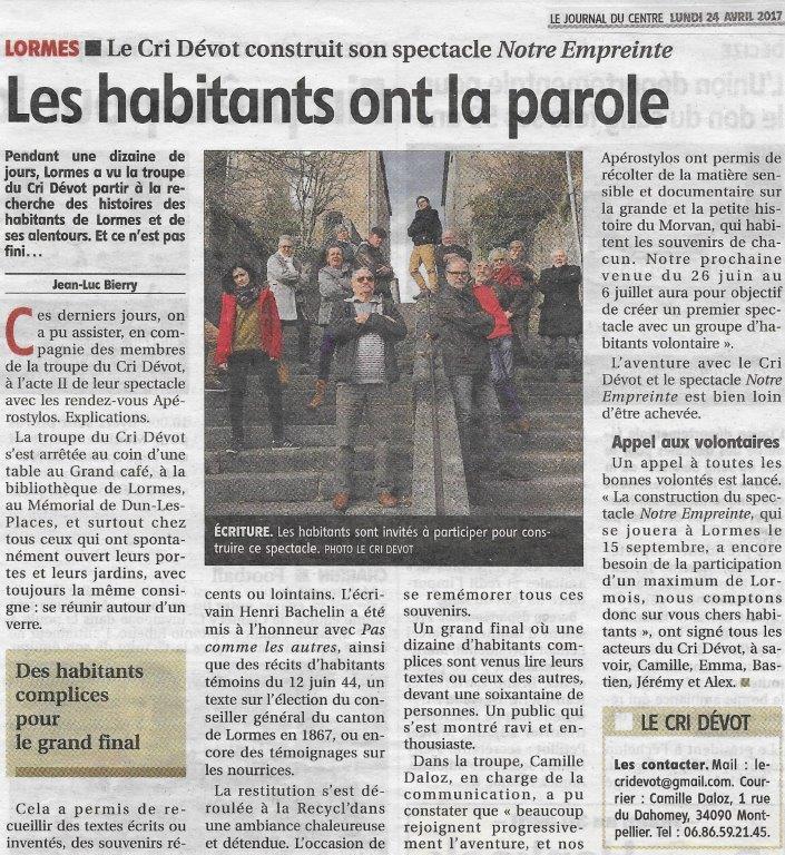 Journal du centre 21/04/17