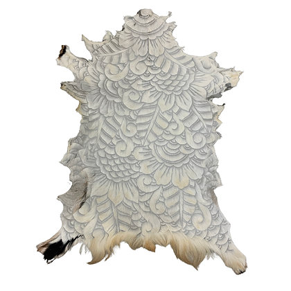 Goat Hide Rugs | Hand Carved Natural | 10278