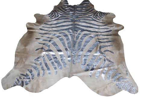 Zebra Printed Cowhide   Silver Metallic on Beige