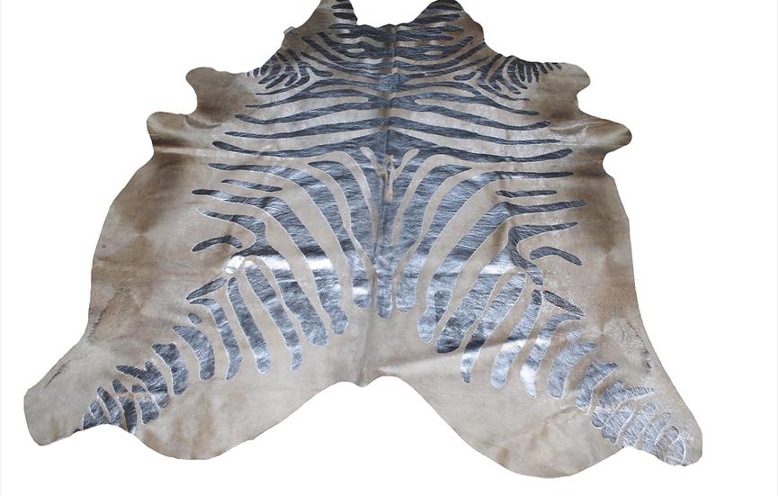 Zebra Printed Cowhide | Silver Metallic on Beige