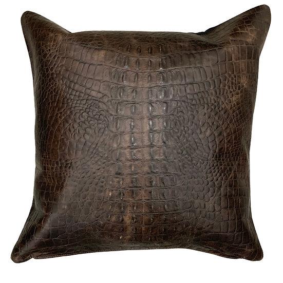 Leather Throw Pillow   Croc Print   45cm x 45cm