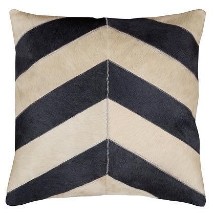 Cowhide Cushion   Grey and Cream Chevron   50cm x 50cm