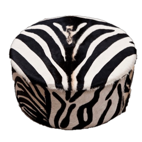 Cowhide Round Ottoman | Zebra
