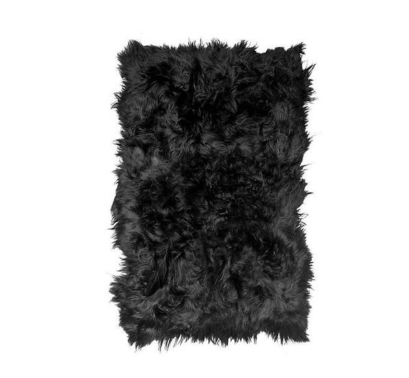 Sheepskin Design Rug | Black Brown | Natural Edges