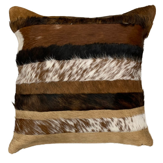 Cowhide Cushion | Stripes | Natural Browns