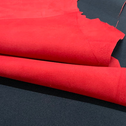 Lamb Suede with Black Stretch Material Backing | Red | 1.2mm