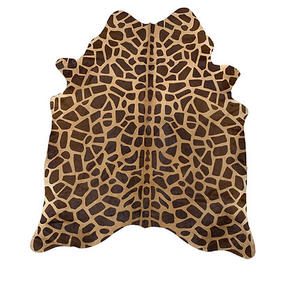 Giraffe Printed Cowhide Rug Brown on Beige