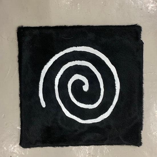 Cowhide Cushion | Spiral | Black Silver Metallic